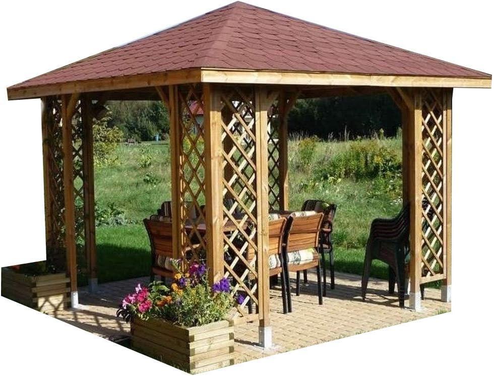 CHECO HOME AND GARDEN - Cenador para jardín, de madera con opción de tejas (3 x 3 m), madera, Gazebo only: Amazon.es: Hogar