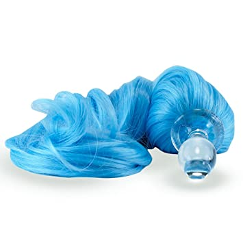 038d76b2e81 Image Unavailable. Image not available for. Color  Crystal Delights  Detachable Sky Blue Pony Tail Plug