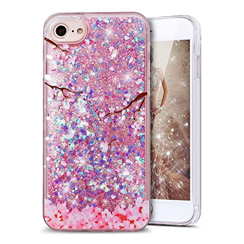 Price comparison product image UCLL iPhone 6 / 6S plus Glitter Case,  iPhone 6 / 6S plus Liquid Case Moving Bling Romantic Cherry Blossoms Floating Cover for iPhone 6 / 6S plus with a Screen Protector (heart blue&pink)
