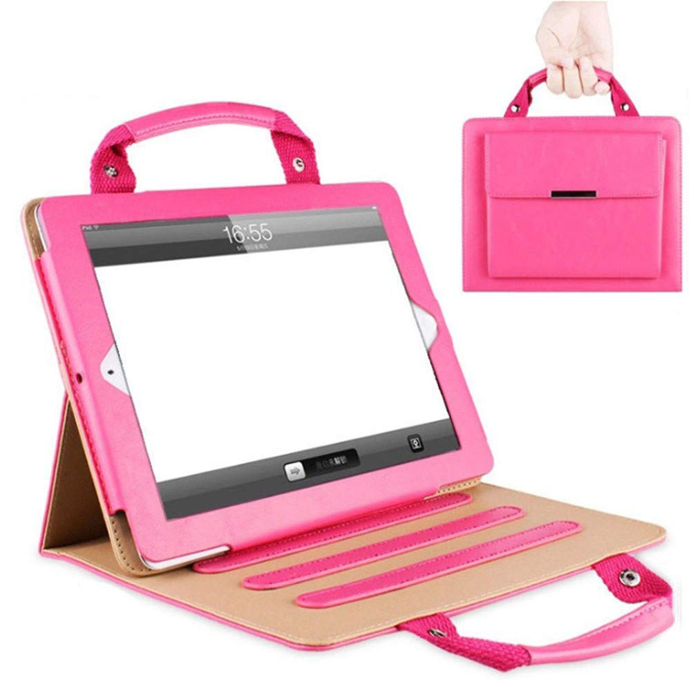 iPad Pro 9.7 Handbag Case,SIX-SEVEN Slim Business Style Handbag Document Card Pocket with Hand Strap Folio Flip Sleeve for 9.7 inch iPad Pro Case,Hot Pink