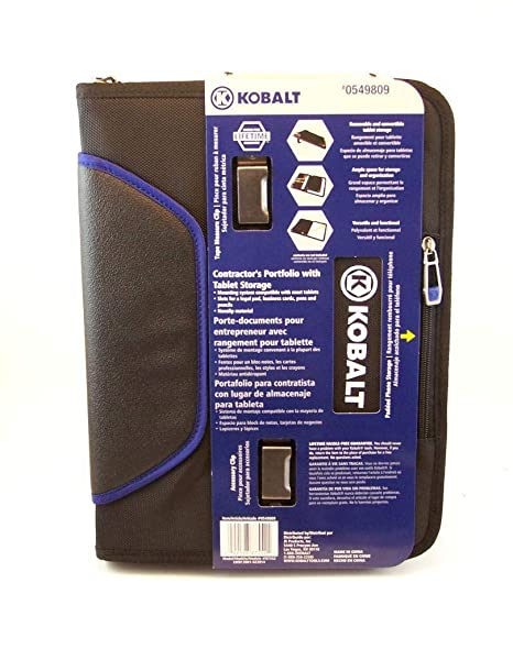Kobalt contractors business portfolio with detachable tablet storage, durable non slip material, outdoor friendly