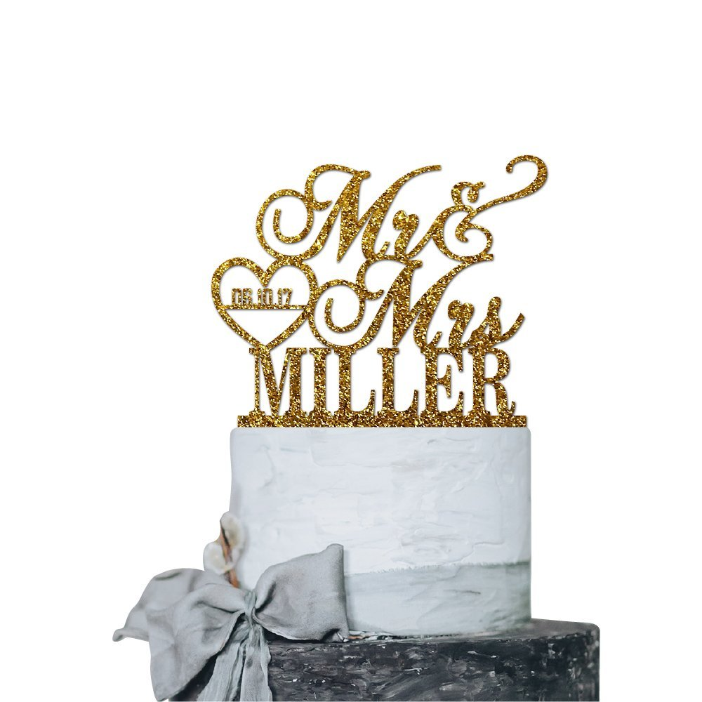 P Lab Personalized Cake Topper Mr. Mrs. Last Name Custom Date 2 Wedding Cake Topper Acrylic Decoration for Special Event Gold Glitter