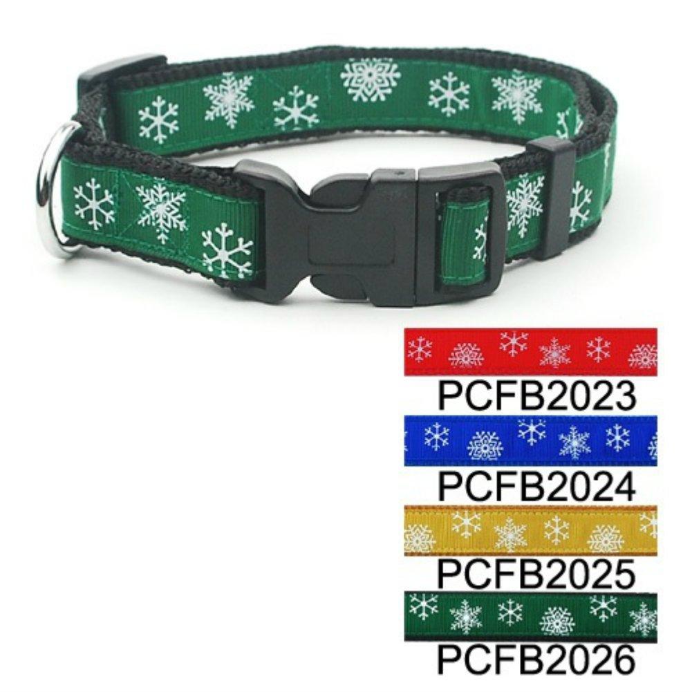 Green Christmas Snowflake Adjustable Dog Collar 1'' Large