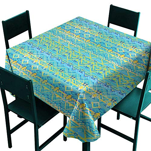 (Warm Family Geometric Easy Care Tablecloth Aztec Retro Zigzag Primitive Traditional Heritage Hippie Design Indoor Outdoor Camping Picnic W60 x L60)