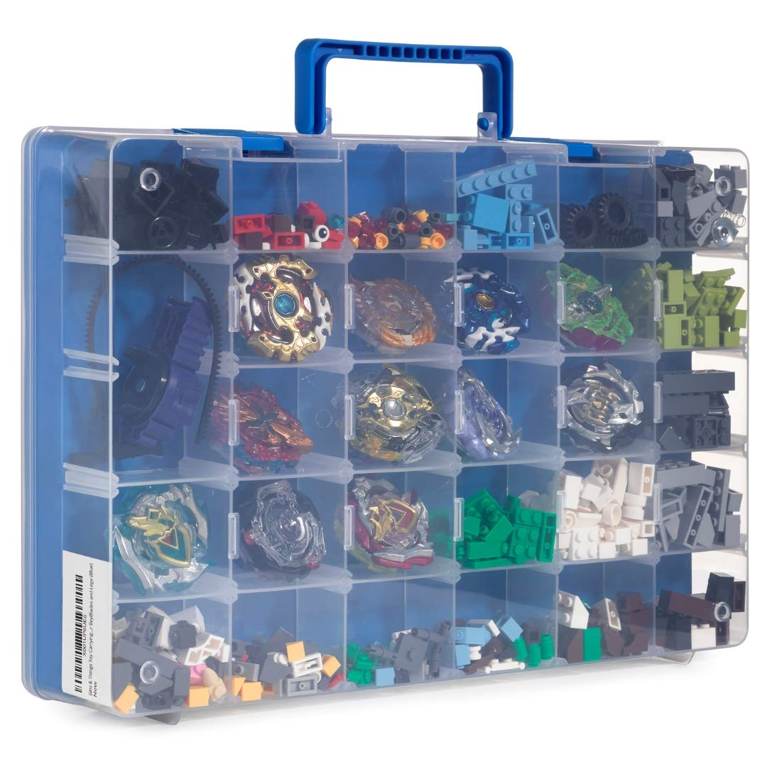 Bins & Things Toy Storage Organizer and Display Case Compatible with Beyblades, Hot Wheels and LOL Dolls - Portable Adjustable Box w/Carrying Handle