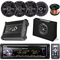 "Pioneer DEHX6800BT CD Receiver Bundle Combo With Kicker 10"" Inch 300W Audio Subwoofers + 4x Kicker DSC6504 6.5 Coaxial Speakers + Lanzar HTG237 1000W Stereo Amplifier + Enrock 50Ft 16g Speaker Wire"