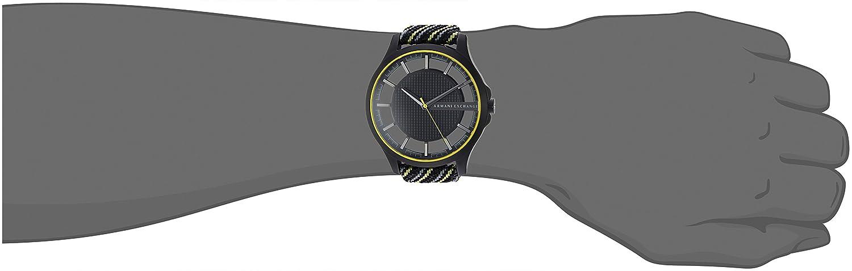 a5ae08194e84 Armani Exchange para hombre negro y amarillo tela reloj ax2402   Amazon.com.mx  Relojes