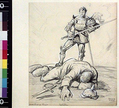 HistoricalFindings Photo: Slain,World War I,WWI,Germany,Knight,Militarism,German Helmet,1918,Cartoon]()