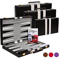 Get The Games Out Top Backgammon Set - Classic Board Game Case - Best Strategy & Tip Guide (Black, Large)