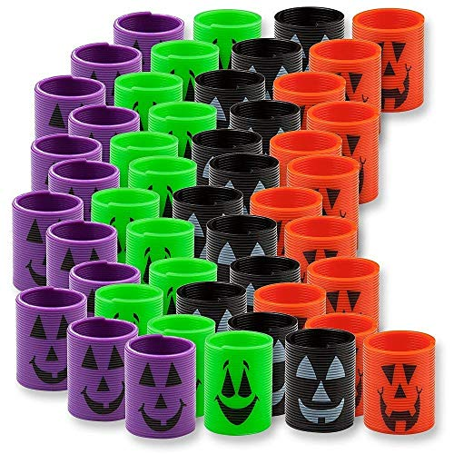 Fun Express 4 Dozen (48) Mini Halloween Magic Springs; Perfect for Trick or Treat; Classroom Giveaways; Party -