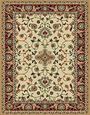 High Quality Ivory Cream Traditional Floral Persian Carpet Oriental Red Bordered Area Rug