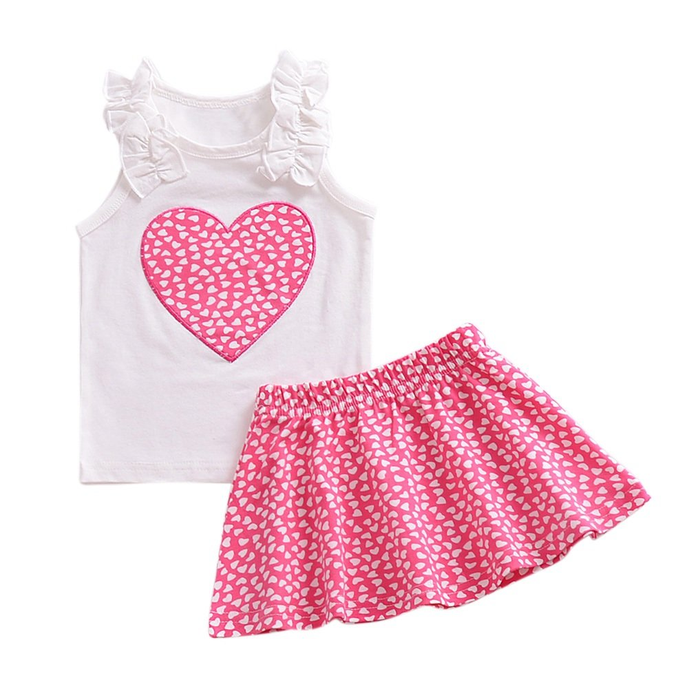 Baby Girl Skirt and Top Summer Clothes Set Sweet Love Hearted Printed Vest and Dress 2 Pieces Outfit for 3-8 Years Old Little Kid