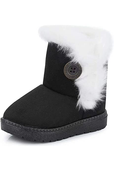 Winter Kids Boys Girls Snow Fur Baby Shoes Cute Toddler Warm Boots Size4.5-11