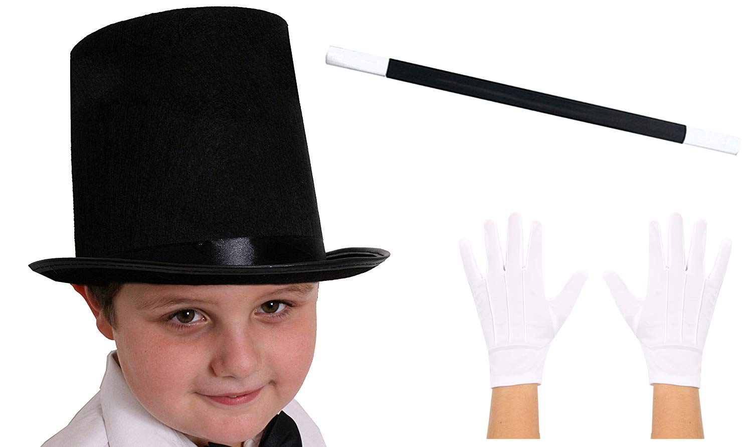 ADULT Magician Fancy Dress Costume 3 Piece Set Top Hat Magic Wand White Gloves