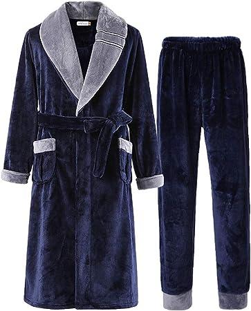 Batas De Gran Tamaño Y Pantalones De Pijama, Bata De Dos Piezas, Bata Súper Suave Hombre del Cuello del Mantón, (Tamaños: L - XXXL) Cómodo (Size : XXXL): Amazon.es: Hogar