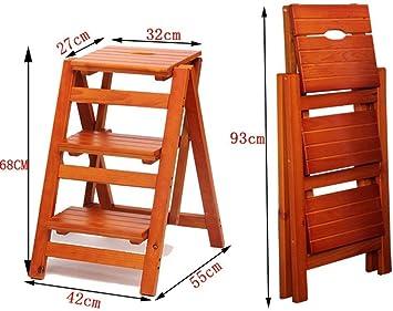 MJY Silla cómoda Escalera doméstica de madera maciza Escalera plegable multifunción Escalera interior de tres escalones Escalera gruesa de doble uso Taburete: Amazon.es: Bricolaje y herramientas