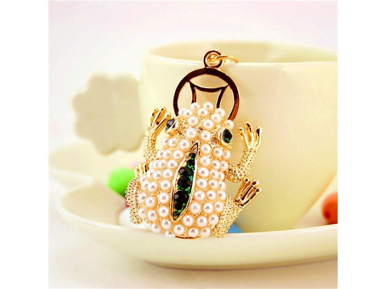 Car Keychain, Exquisite Lucky Toad Frog Keychain Animal Shape Key Trinket Car Bag Key Holder Decorations(Gold) for Gift