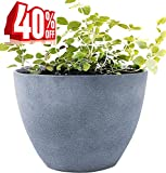 Flower Pot Large 14.2' Garden Planters Outdoor Indoor, Unbreakable Resin Plant Containers with Drain Hole, Grey