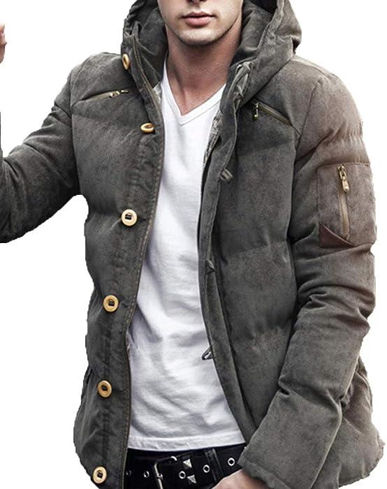 a30b1ebb74b13 Herren Baumwoll Mantel Mode Winddicht Winterjacke Männer Winter Dick Warm  Bequem Tasche Reißverschluss Kapuzenjacke Leicht Übergangsjacke Steppjacke