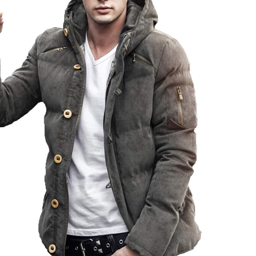 Fantaisiez Manteau Hommes à Capuche Fermeture éclair Veste Automne Hiver Manteaux Homme Manche Longue Décontractée Coat Outwear Poche Jacket épaissie
