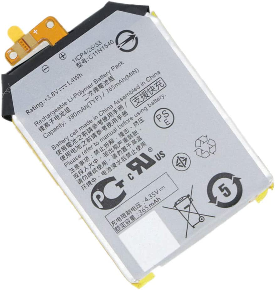 Civhomy Replacement C11N1540 380mAh Battery for ASUS ZenWatch 2 WI501QF 0B200-01630100 1ICP4//26//33 3.8V