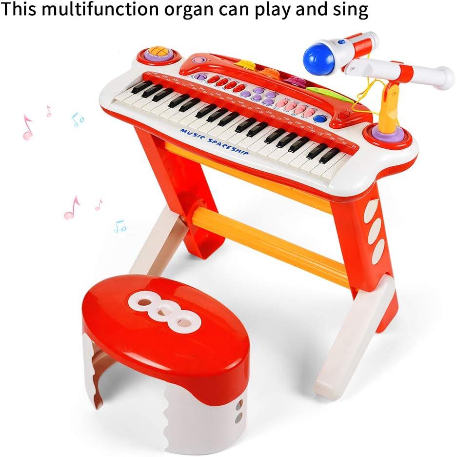 Baoli Juego de teclado electrónico de 37 teclas con micrófono y taburete