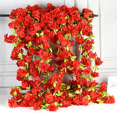 AlphaAcc Artificial Red Silk Cherry Blossom Flower Vine Hanging Garland Home Wedding Party Decor, Pack of -