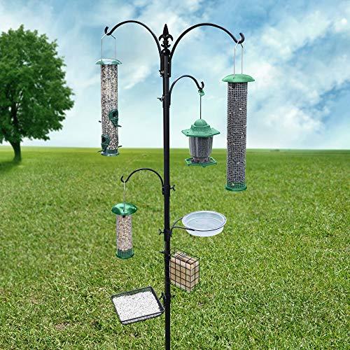 """Gray Bunny GB-6844D Deluxe Premium Bird Feeding Station, 22"""" Wide x 91"""" Tall (82 inch Above Ground) Black, Multi Feeder Hanging Kit & Bird Bath Attracting Wild Birds, Birdfeeder & Planter Hanger"""