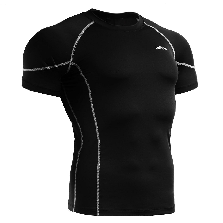 emFraa Mens Womens Skin Tight Base layer T Shirt Short sleeve Black XXL