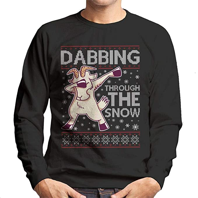 Coto7 Dabbing Through The Snow Goat Christmas Knit Pattern Mens Sweatshirt