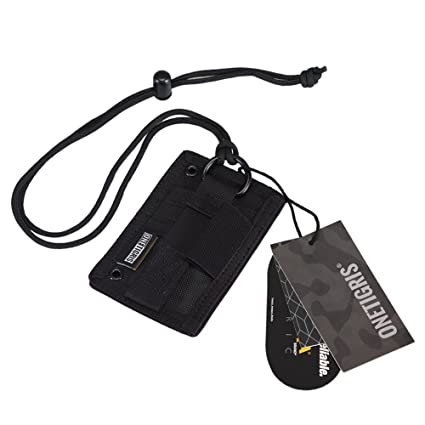 onetigris tactical id card holder hook loop patch badge holder neck lanyard key ring and - Id Card Holder