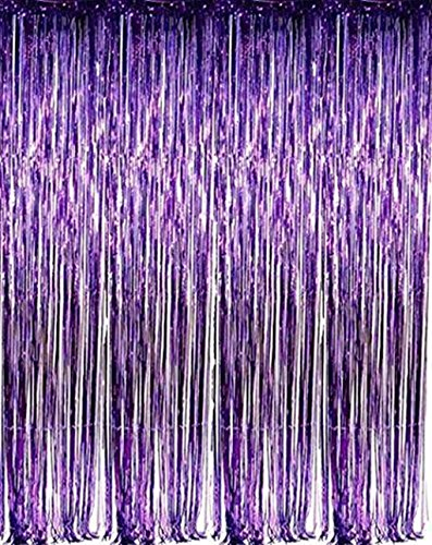 Jocon SF8107 Metallic Foil Fringe Curtain for Wedding Prom Birthday Party Wall Decoration Background (1 Pack, Purple)