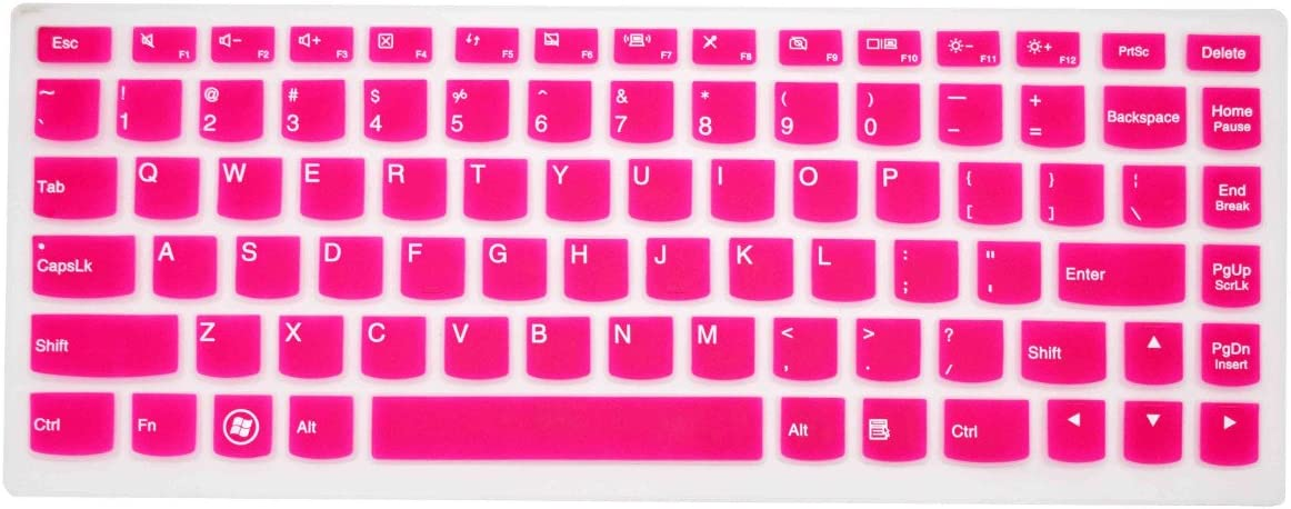 PcProfessional Hot Pink Ultra Thin Silicone Gel Keyboard Cover for Lenovo IdeaPad U300 U300s U310 U400 U410 U430 U430p Z400 P400 S300 S400 S405 Yoga 13-IFI, Yoga 2 Pro, Yoga 2 13-inch Convertible Ultrabook Laptop with Application Kit (Please Compare Keyboard Layout and Model)