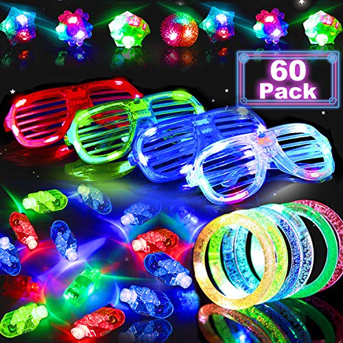 60Pcs LED Light Up Toys Glow in The Dark Party Supplies Favors for Kid Easter Basket Stuffers with 40 LED Finger Lights 10 LED Flashing Bumpy Ring 5 Flashing Slotted Shades Glasses 5 light Up bracelet ()