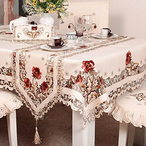 Judy Dre am European Style Brown Rose Cut Work Rustic Table Runner Beige Table Doily Handmade Embroidery Flower Handmade Tablecloth Durable Washable T…