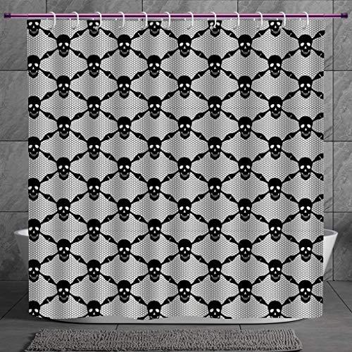 SCOCICI Cool Shower Curtain 2.0 [ Gothic,Halloween Horror Theme Spooky Black Skulls Checkered Pattern with Skeleton Bones,Black White ] Digital Print Polyester Fabric Bathroom Set
