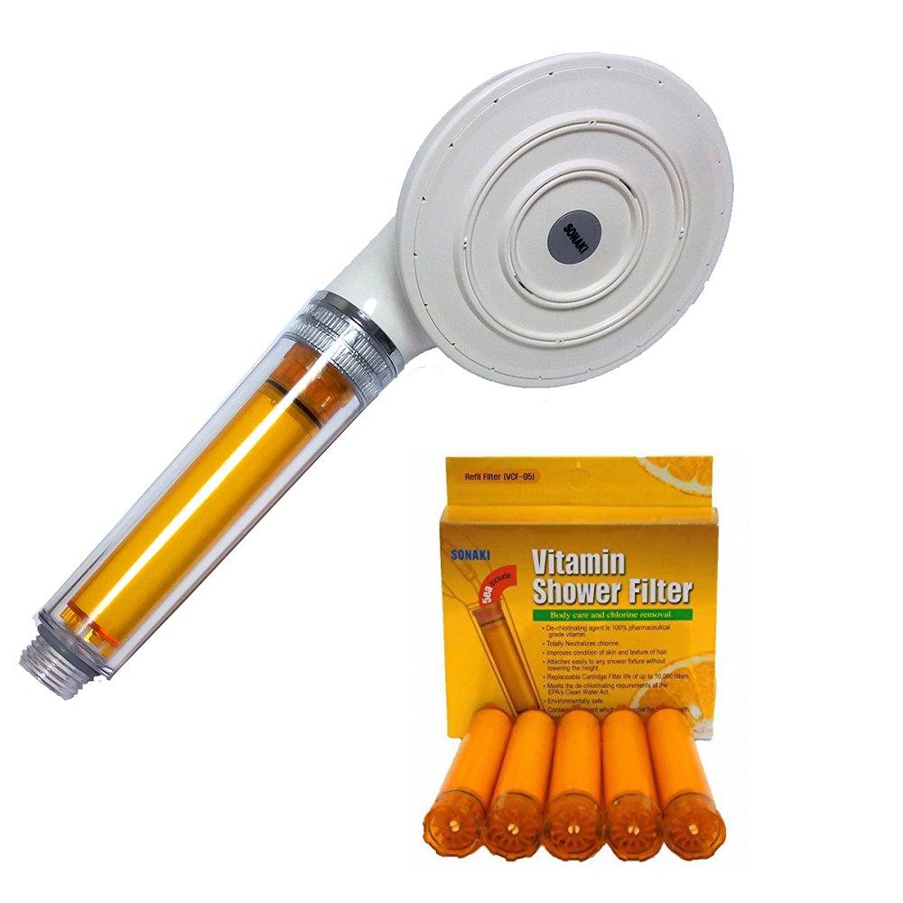 Sonaki Rain Big Size fresh Vitamin C 5 filters White shower head removal Chrome