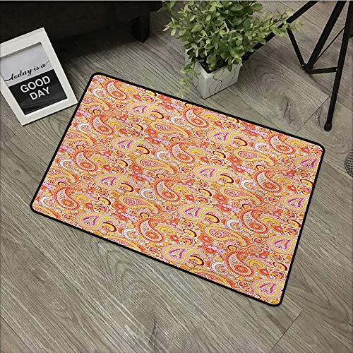 pad W35 x L59 INCH Orange,Asian Design Elements Traditional Paisley Floral Pattern Swirls Leaves Ethnic Motif,Multicolor Non-Slip, with Non-Slip Backing,Non-Slip Door Mat Carpet