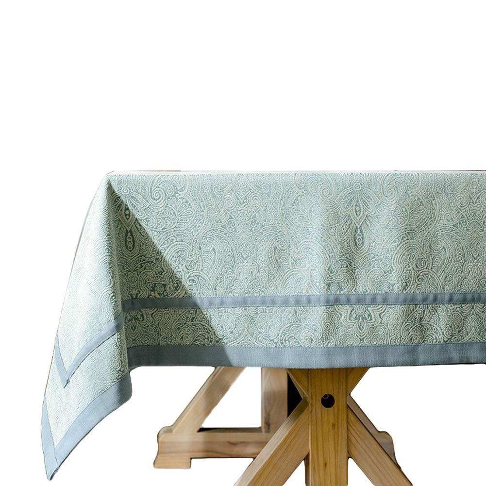 テーブルクロス 長方形のテーブルクロス、コットンとリネンのファブリックテーブルクロス、リビングルーム用の装飾ファブリックテーブルカバー (色 : 青, サイズ さいず : 130×200cm) 130×200cm 青 B07MPN21ZM