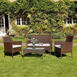 Kingfisher FSR 4 Piece Black Rattan Effect Garden Patio Furniture Set (Brown)