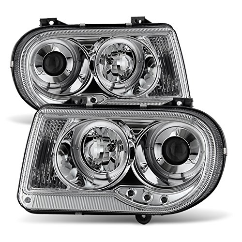 For Chrysler 300C Sedan Halogen Type Chrome Clear Dual Halo Rings Design Projector Headlights Lamps Pair