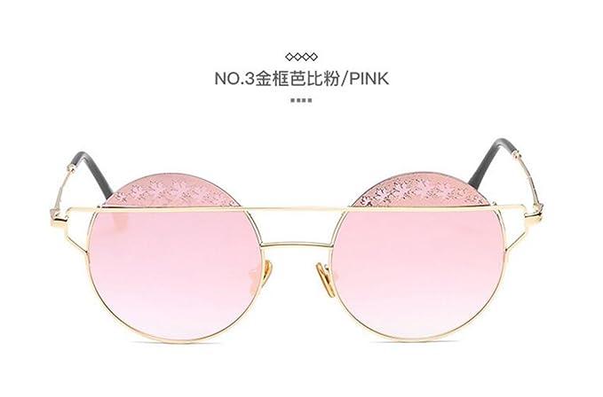 Sucastle Moda metal caja redonda gafas de sol flor de borde ...