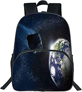 Oobon Kids Toddler School Waterproof 3D Cartoon Backpack, Attack of the Asteroid Rocky Dark Body Comet on Planet Earth Meteor Shower Print, Fits 14 Inch Laptop