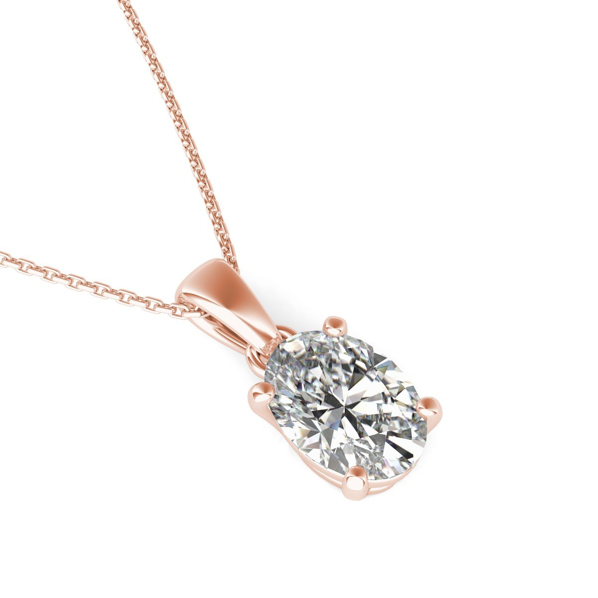 Jalash 10 x 12mm Oval Cut CZ Diamomd Womens Pendant in Rose Gold Plating Only Pendant