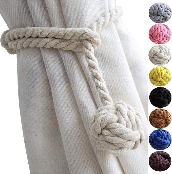 Handmade Rural Decorative Curtain Holdbacks Natural Cotton Drapery Holdbacks Adjust Length Freely Curtain Ties Suitable for Most Types of Curtains Set 2-4 Globe-Beige Macrame Curtain Tiebacks