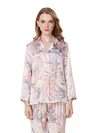 5b8a36fa1f4f CLC Women s Pure Mulberry Silk Pajama Set Printing Sleep Sets at Amazon  Women s Clothing store