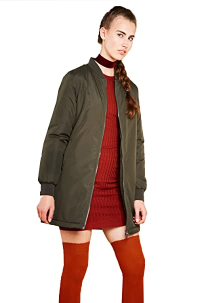 645629691 Brave Soul Womens Havens Padded Quilted Longline MA1 Bomber Jacket ...