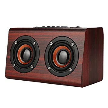 QUICKLYLY Altavoz Bluetooth Portatiles Pequeño/Altavoz pc Retro Madera Doble Super Bass 3.5Mm Jack