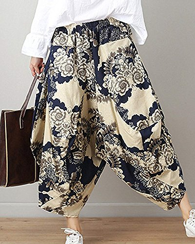 Palloncino Baggy Harem Elegantechic Moda Di Hippie Fiore Vintage Stampa Etnico Pantaloni Blau Lanterna Weimilon A Pluderhose Stile Aladin Donna Casuale Estivi qnZSqUOPC