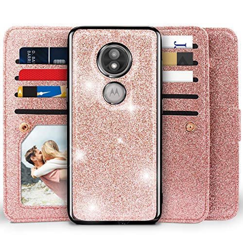 Moto E5 Play Wallet Case, Miss Arts Detachable Magnetic Slim Case with Car Mount Holder, 9 Card/Cash Slots, Magnet Clip, Wrist Strap, PU Leather Cover for Motorola Moto E5 Play -Rose Gold